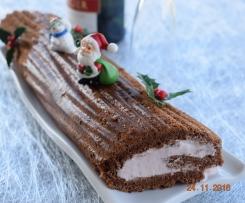 Bûche de Noël chocolat mascarpone fraise