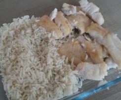 Filet de lieu sauté façon meunière, riz créole