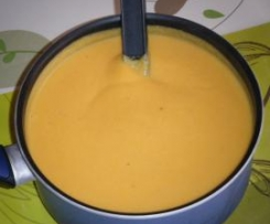 Soupe céléri boule, potimarron, panais et patates douces
