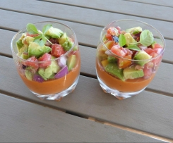 Panna cotta de tomates et sa salade