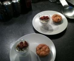 Verrines crème de parmesan pesto crémeux et tomates confites et muffin tomates séchées mozzarella