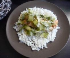 Saumon, poireaux et riz à la citronnelle