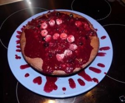 Fondant chocolat et fruits rouges - coulis fruits rouges
