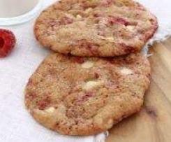 cookies chocolat blanc, noix de pécan et framboise